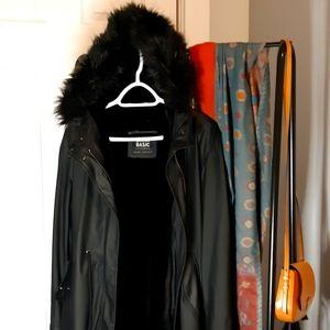 Black Faux Fur lined rain coat